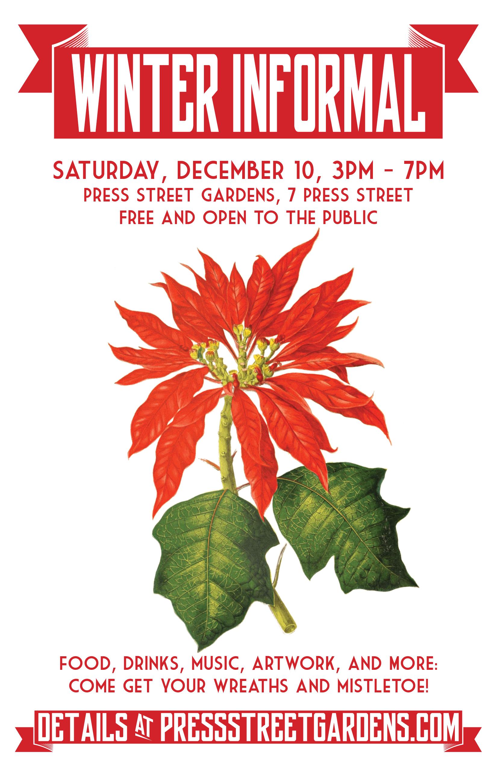 Saturday, December 10: Press Street Gardens' Winter Informal